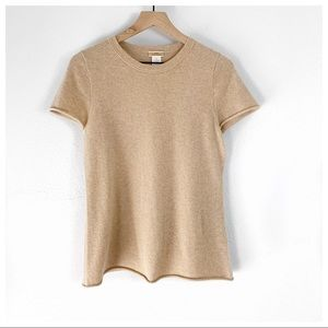 J. Crew Tan 100% Cashmere Short Sleeve Sweater Tee